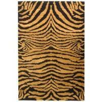Safavieh Handmade Tiger Brown/ Black New Zealand Wool Rug (7'6 x 9'6) - 7'6 x 9'6