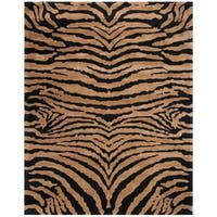 "Safavieh Handmade Tiger Brown/ Black New Zealand Wool Rug - 7'-6"" x 9'-6"""