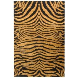 Safavieh Handmade Tiger Brown/ Black New Zealand Wool Rug (8'3 x 11')