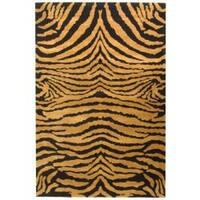Safavieh Handmade Tiger Brown/ Black New Zealand Wool Rug - 8'3 x 11'
