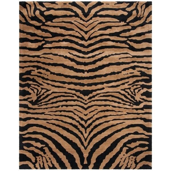 "Safavieh Handmade Tiger Brown/ Black New Zealand Wool Rug - 8'3"" x 11'"