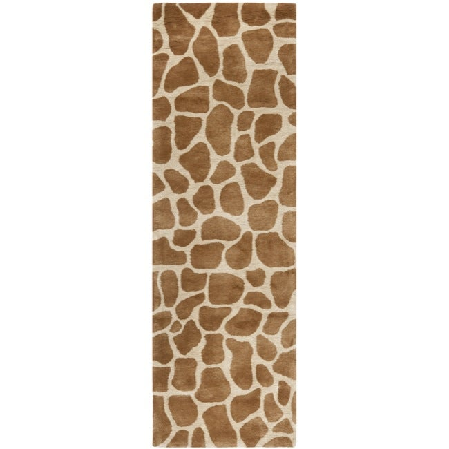 Safavieh Handmade Giraffe Beige New Zealand Wool Rug (2'6 x 10')