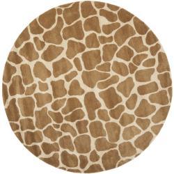 Safavieh Handmade Giraffe Beige New Zealand Wool Rug (6' x 6' Round)