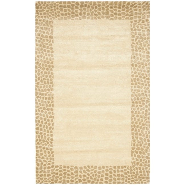 Safavieh Handmade Borders Beige New Zealand Wool Rug - 7'6 x 9'6
