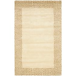 Safavieh Handmade Borders Beige New Zealand Wool Rug - 7'6 x 9'6 - Thumbnail 0