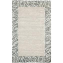 Safavieh Handmade Borders Silver New Zealand Wool Rug (5'x 8')