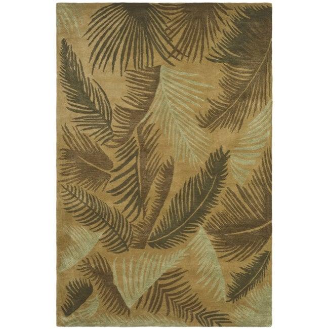 Safavieh Handmade Ferns Gold New Zealand Wool Rug - 8'3 x 11'