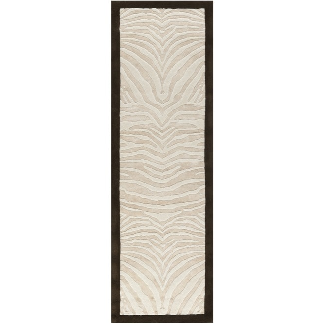 Safavieh Handmade Zebra Ivory New Zealand Wool Rug (2'6 x 8')