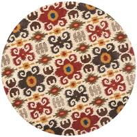 Safavieh Handmade Festive Ivory New Zealand Contemporary Wool Rug - 6' x 6' Round