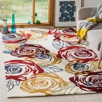 Safavieh Handmade Roses Ivory New Zealand Wool Rug - 5' x 8'