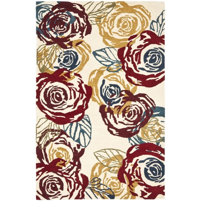 Safavieh Handmade Roses Ivory New Zealand Wool Rug - 7'6 x 9'6