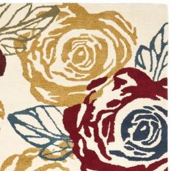 Safavieh Handmade Roses Ivory New Zealand Wool Rug (8'3 x 11') - Thumbnail 1