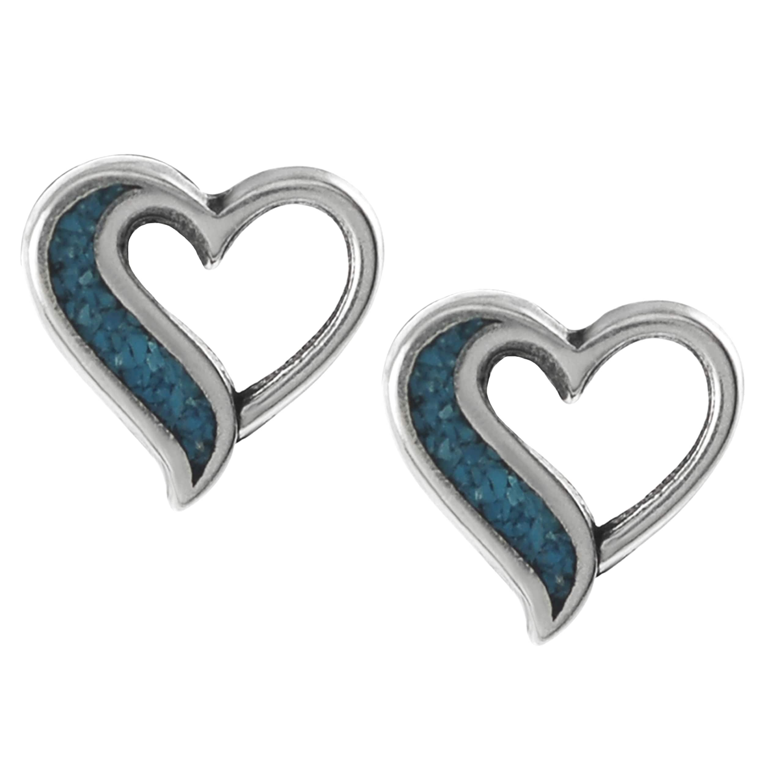 Journee Collection Sterling Silver Cut-out Heart Stud Earrings