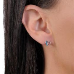 Journee Collection Sterling Silver Cut-out Heart Stud Earrings - Thumbnail 2