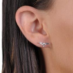 Journee Collection Sterling Silver Soaring Bird Stud Earrings