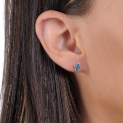 Journee Collection Sterling Silver Genuine Turquoise Cross Stud Earrings - Thumbnail 2