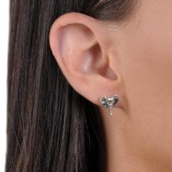 Journee Collection Sterling Silver Handmade Elephant Stud Earrings