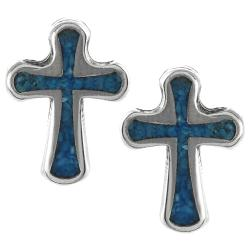 Journee Collection Sterling Silver Genuine Turquoise Cross Stud Earrings