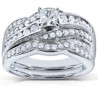 Annello by Kobelli 14k White Gold 1ct TDW Diamond Bridal Ring Set (H-I, I1-I2)