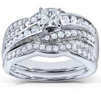 Annello by Kobelli 14k White Gold 1ct TDW Diamond Bridal Ring Set