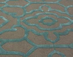 nuLOOM Handmade Marrakesh Grey Faux Silk/ Wool Rug (7'6 x 9'6) - Thumbnail 2