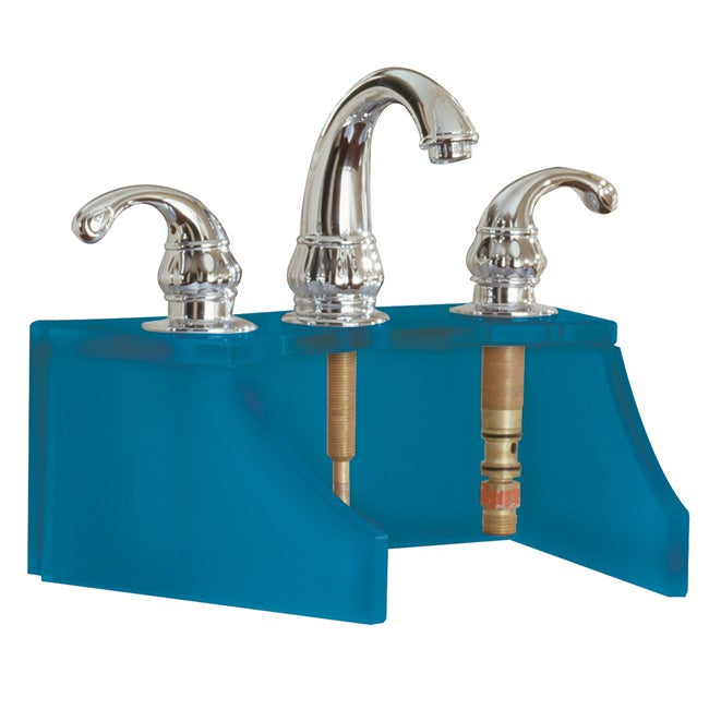 Tempered Glass Frosted Blue Faucet Stand