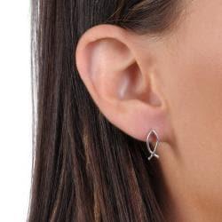 Journee Collection Sterling Silver Jesus Fish Stud Earrings