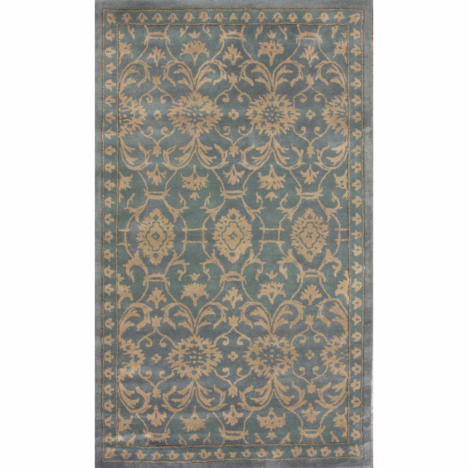 nuLOOM Handmade Persian Motif Light Blue Wool Rug (5' x 8')