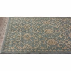 nuLOOM Handmade Persian Motif Light Blue Wool Rug (7'6 x 9'6)
