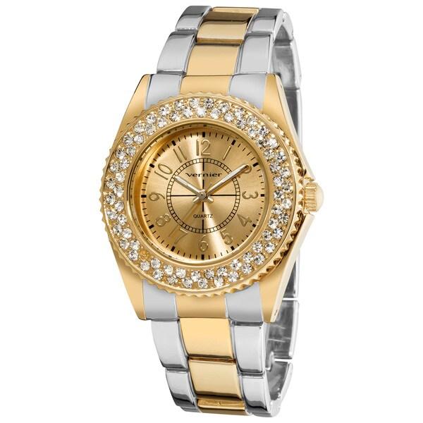 Vernier Women's Fashion Crystal Stone Bezel Gold Bracelet Quartz Watch