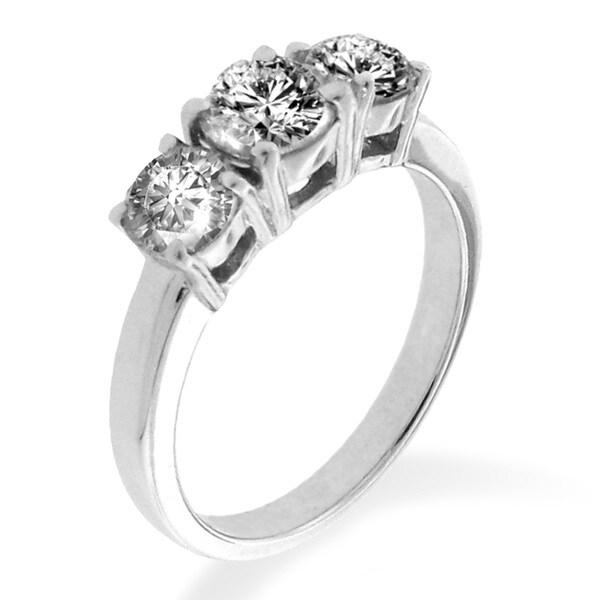 14k White Gold 1/3 to 1 1/2ct TDW Diamond 3-stone Ring (G-H, I1-I2)