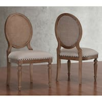 Stones & Stripes Elements Weathered Oak Cane Back Dining Chairs (Set of 2)