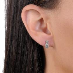 Journee Collection Sterling Silver Pineapple Stud Earrings - Thumbnail 2