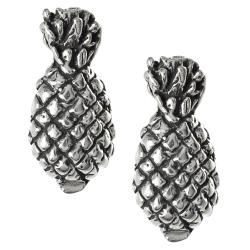 Journee Collection Sterling Silver Pineapple Stud Earrings