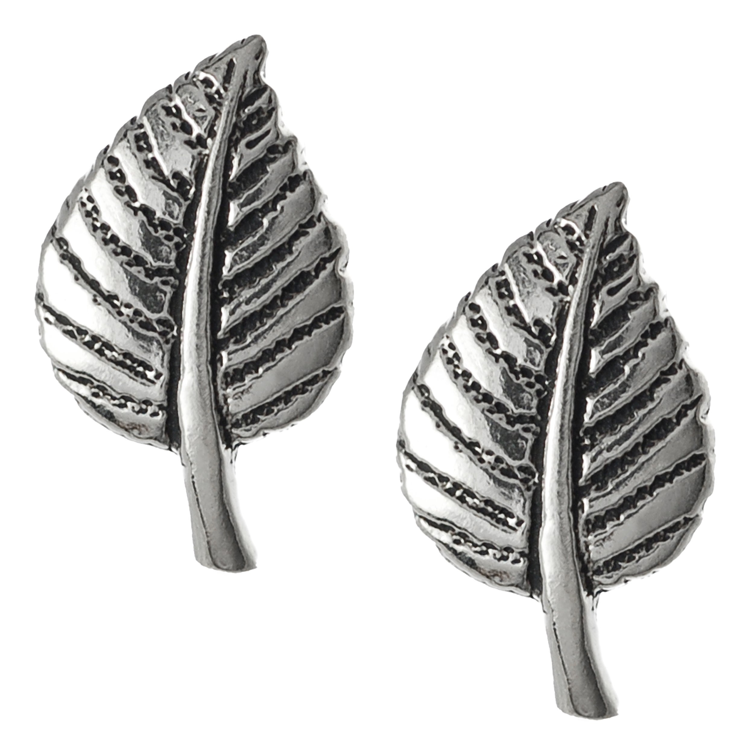 Journee Collection Sterling Silver Hypoallergenic Leaf Stud Earrings