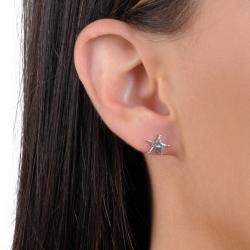 Journee Collection Sterling Silver Sheriff Star Badge Stud Earrings