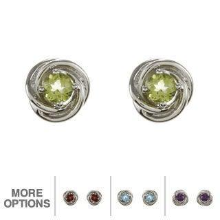 Sterling Silver Gemstone Swirl Stud Earrings