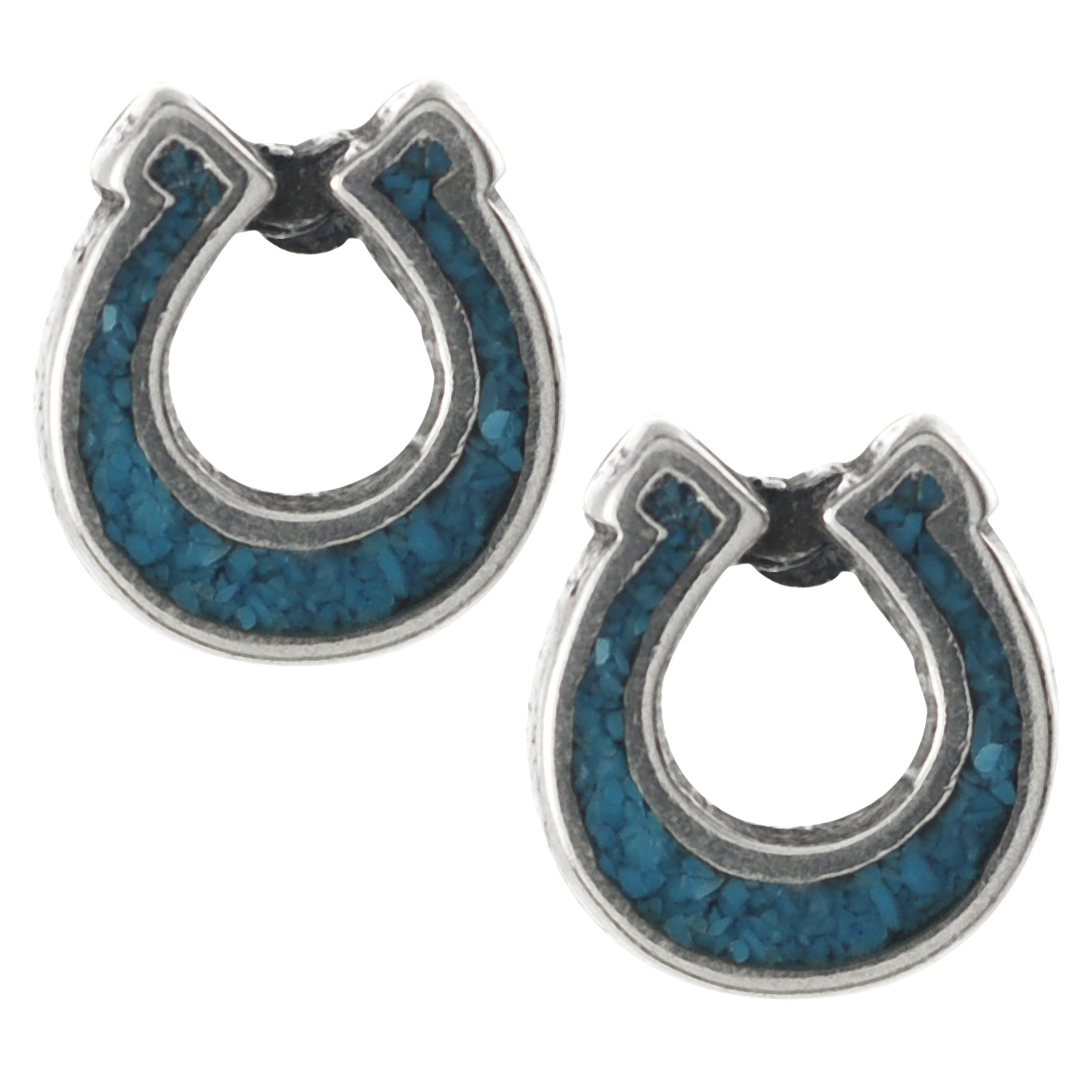 Journee Collection Sterling Silver Genuine Turquoise Horseshoe Stud Earrings