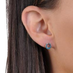 Journee Collection Sterling Silver Genuine Turquoise Horseshoe Stud Earrings - Thumbnail 2