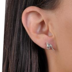 Journee Collection Sterling Silver Mother and Baby Kangaroo Stud Earrings