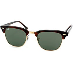deals on ray ban sunglasses  ray ban clubmaster rb 3016 unisex tortoise frame green classic lens sunglasses