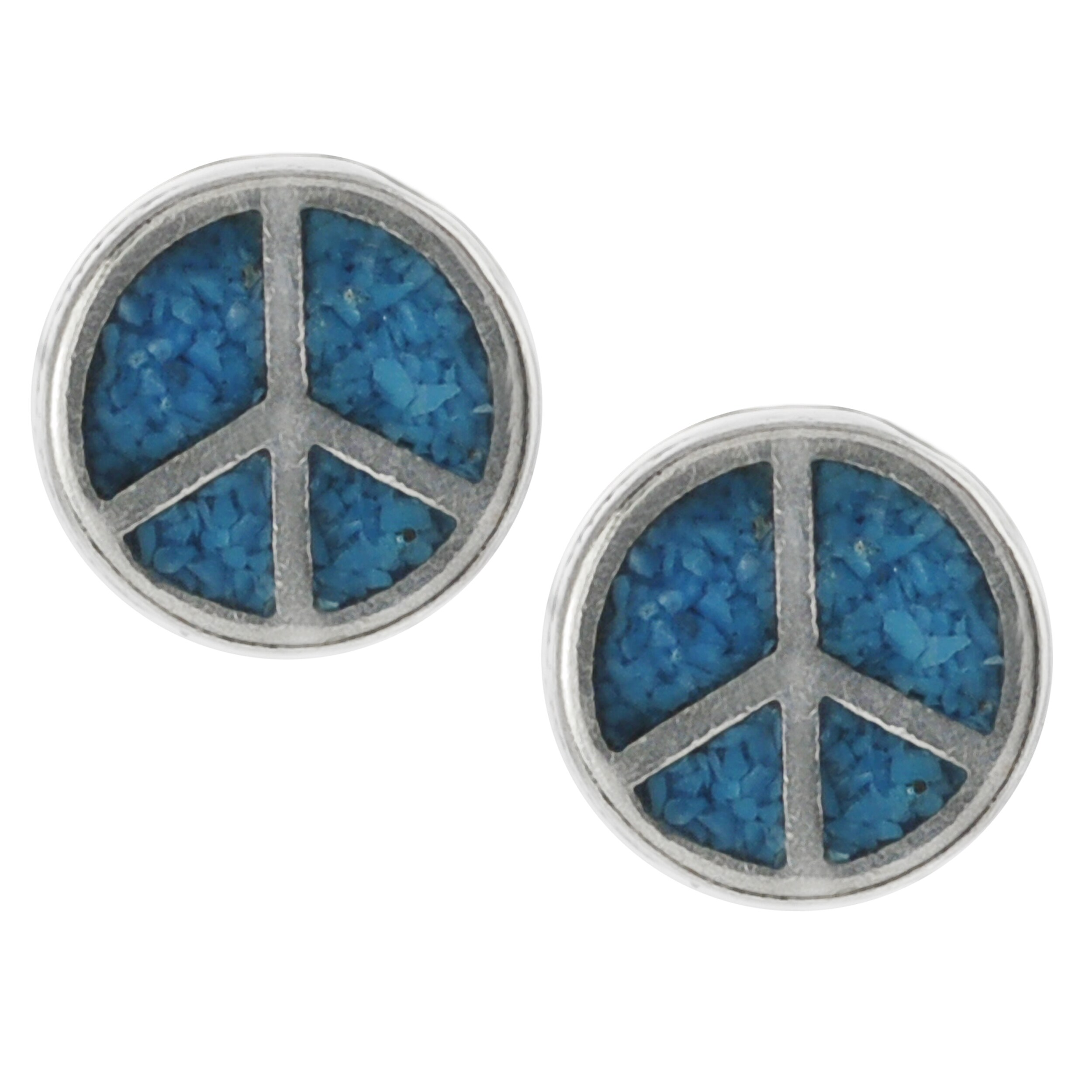 Journee Collection Sterling Silver Genuine Turquoise Peace Sign Stud Earrings
