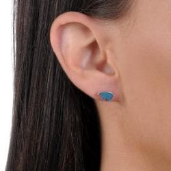 Journee Collection Sterling Silver Genuine Turquoise Bear Stud Earrings - Thumbnail 2