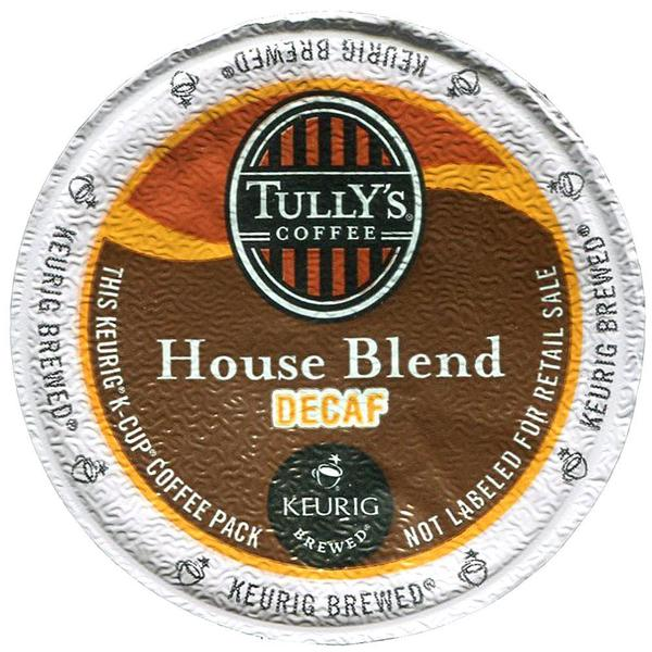Tully's House Blend Decaf Medium Roast Coffee K-Cups for Keurig Brewers