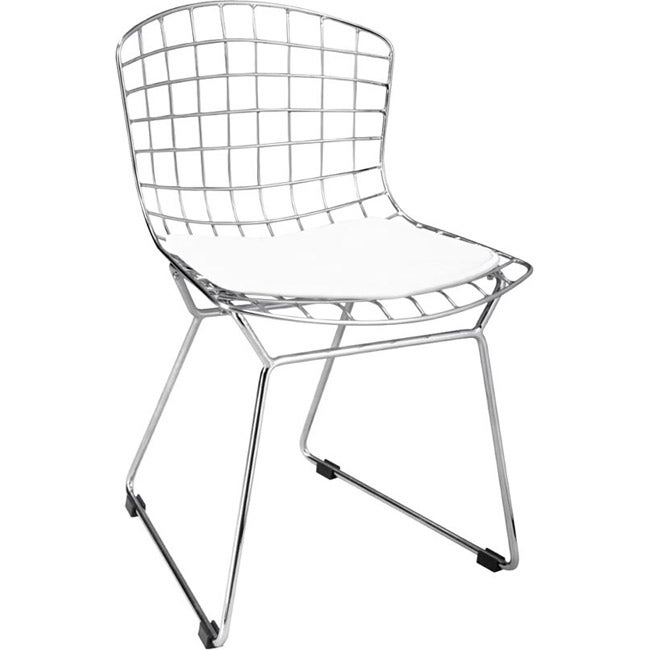 Baby Wire Chrome/ White Chairs (Set of 2)
