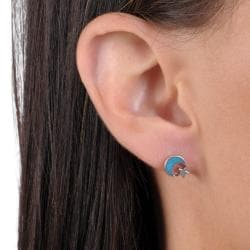 Journee Collection Sterling Silver Genuine Turquoise Moon and Star Stud Earrings - Thumbnail 2
