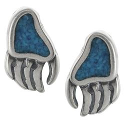 Journee Collection Sterling Silver Genuine Turquoise Bear Paw Print Stud Earrings