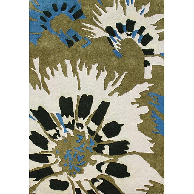 Alliyah Hand-tufted Amber/ Green Wool Rug (5' x 8')