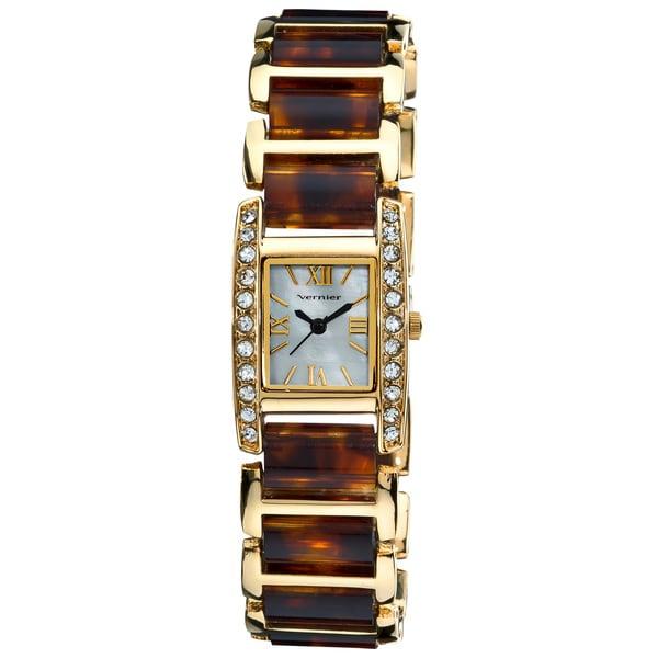 Vernier Women's Dazzling Rectangular Gold Tortoise Links Bracelet Watch