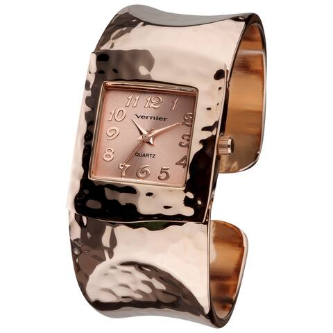 Vernier Women's V1831 Rose Tone Hammered Bangle